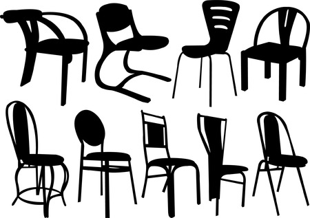 classic living room: chairs collection - vector Illustration