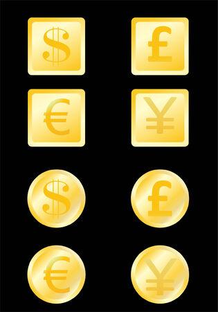icon buttons: conjunto de iconos, botones con dinero - vector Vectores
