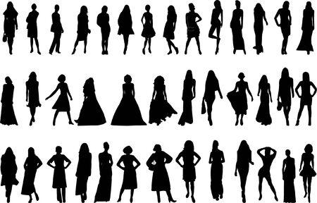 catwalk model: models collection - vector