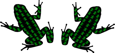 croaking: frogs silhouette - vector Illustration
