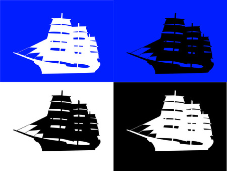 filibuster: black and white ships with background - vector Illustration