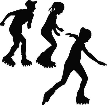 rollerblading: roller silhouette vector Illustration