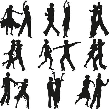 bailando salsa: La gente baila vector de la silueta