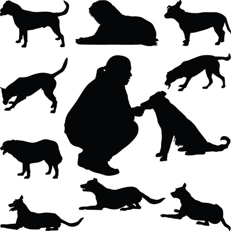 bullmastiff: dog silhouette vector