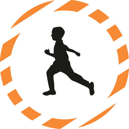 group fitness: runner silhouette vector Illustration