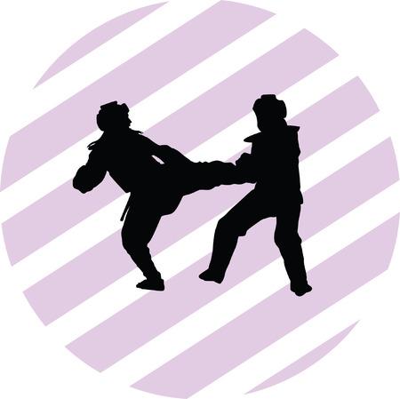 couple fight: taekwondo woman