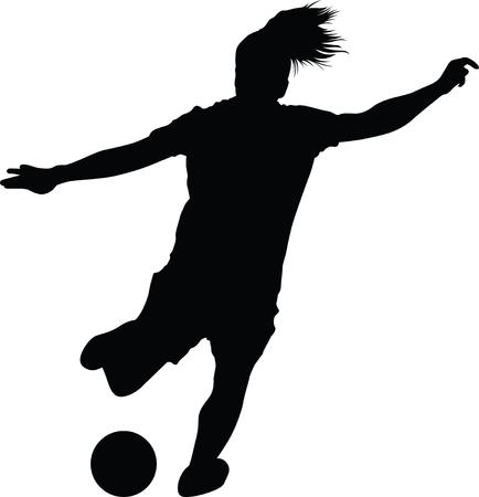 Fußballfrauenschattenbild. Mädchen-Spieler-Vektor