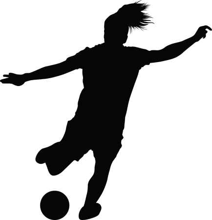 soccer women silhouette. girl player vector Stok Fotoğraf - 90161187