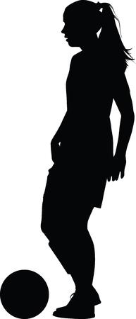voetbal vrouwen silhouet. meisjes speler vector