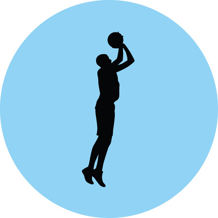 Basketball player silhouette on blue circle