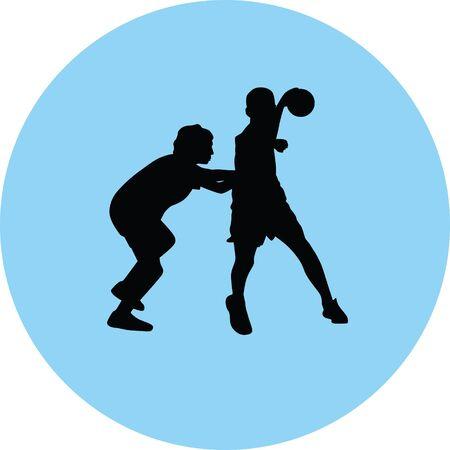 handball player illustration in blue circle.