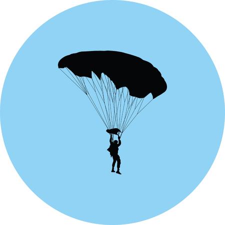 parachutist silhouette vector silhouette illustration.