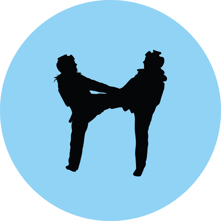 Women playing taekwondo.