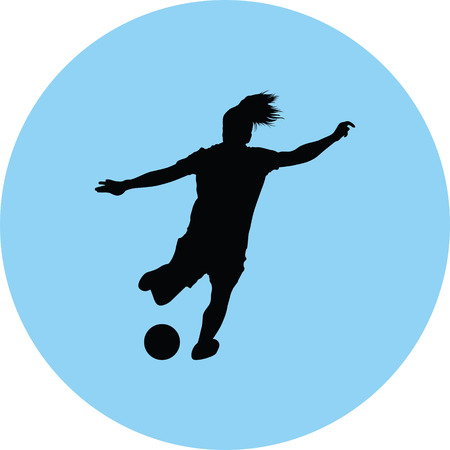Women soccer player silhouette girl player vector icon.