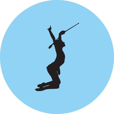 rhythmic gymnastics silhouette illustration.