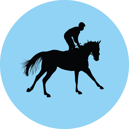 horse and jockey silhouette illustration. Illustration