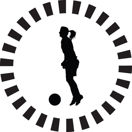 soccer women silhouette. girl player vector