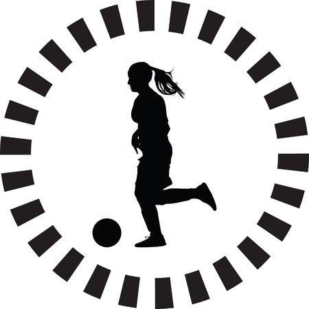 soccer women silhouette. girl player vector
