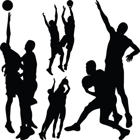 basketball players in action silhouette vector Stock Vector - 118445670