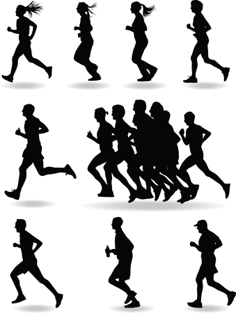 group of man and woman runers silhouette vector