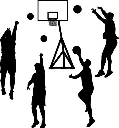 basketball player in different poses silhouette vector Illustration