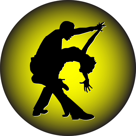 dance people on jellow background silhouette vector