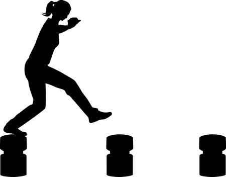 women jumping silhouette vector