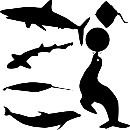 fish silhouette vector Vectores