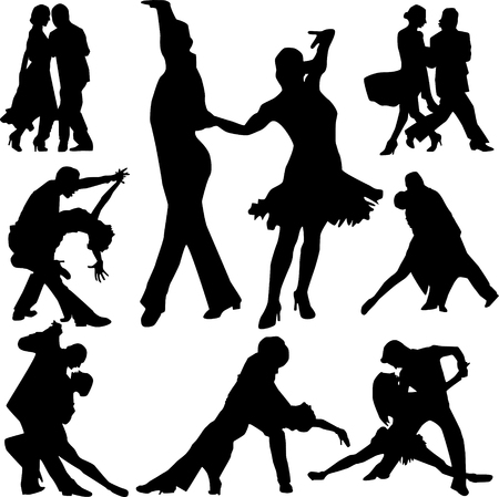 Beautiful dance people in different poses silhouette vector
