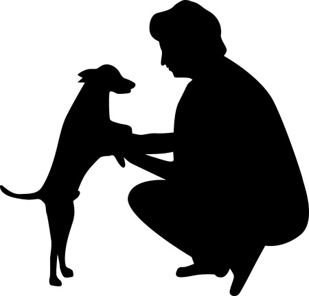 woman and dog silhouette vector  イラスト・ベクター素材