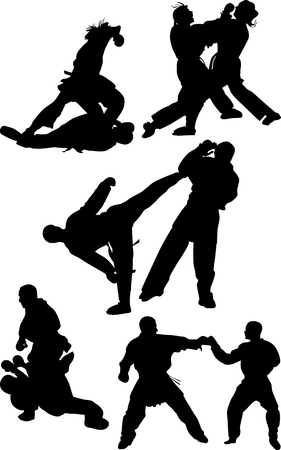 karate competition in different poses silhouette vector