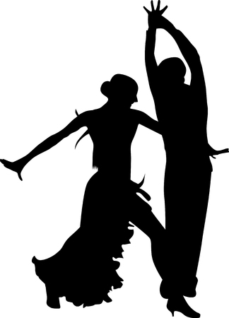 Woman and man dancing silhouette vector Illustration