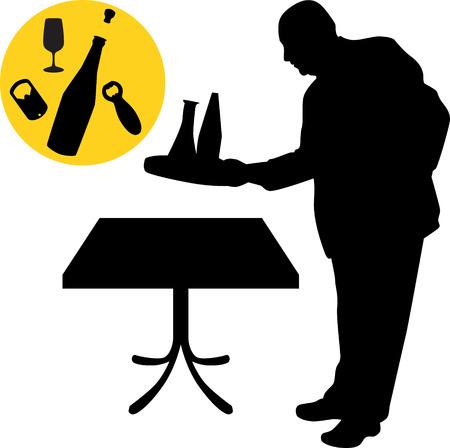 waiter silhouette vector