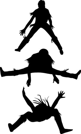 dance woman in three different situation silhouette vector Illustration