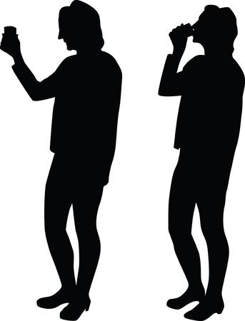 woman drinking Ilustração