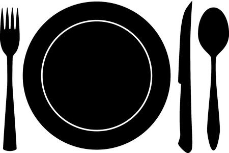 vector de silueta de plato, tenedor y cuchara Ilustración de vector