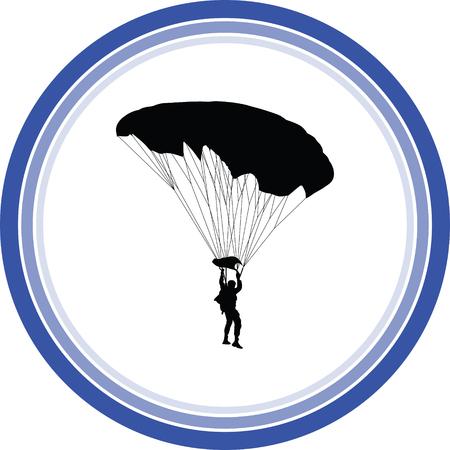 parachutist silhouette vector Illustration