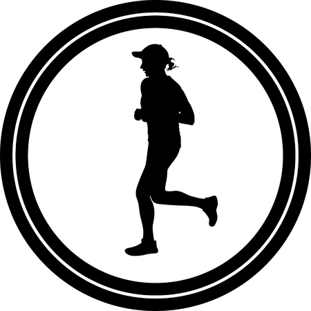 woman and man are running silhouette vector