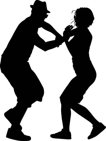 man with a hat and glass dance with a girl silhouette vector Illustration
