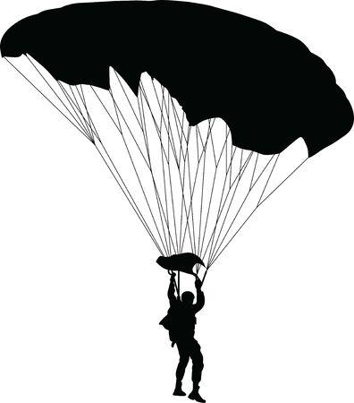 vector de silueta de paracaidista