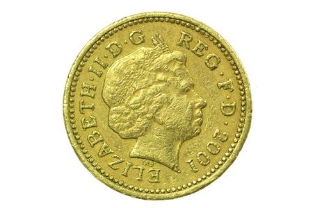Pound coin on white