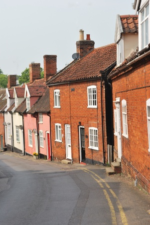 row of traditional town cottages photo