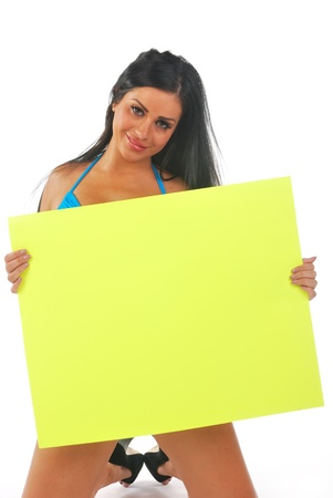 pretty girl holding blank sign photo
