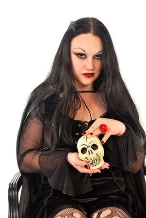 evil woman in blackwith skull photo