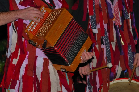 morris: traditional accordian and morris dance players Stock Photo