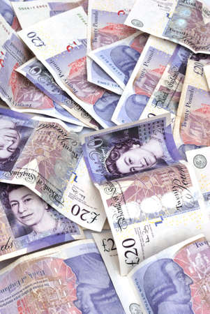 pound sterling: lots of twenty pound notes