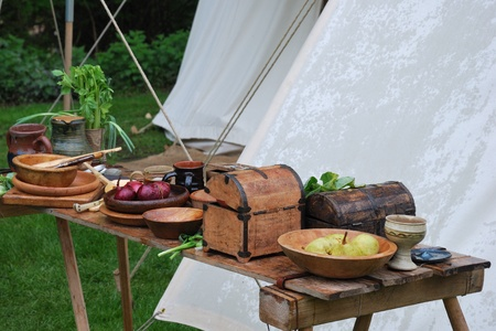 Medieval table of food photo