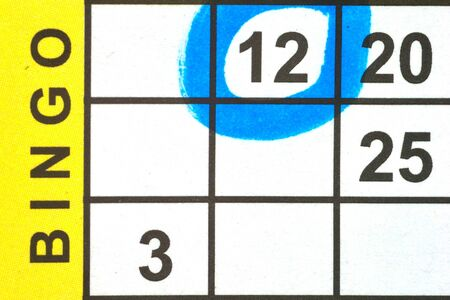Close up of Bingo Card with one number circled photo