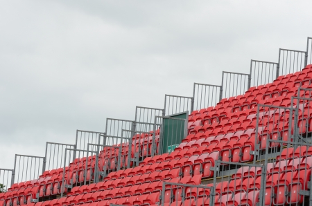grandstand: Empty grandstand with grey sky