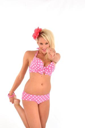 Playful Blonde in Bikini pointing at camera Stock Photo - 14738716